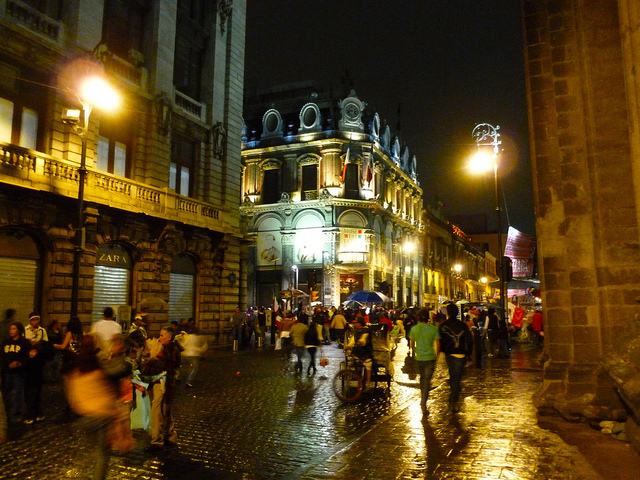 Downtown at night (Mexico City.)