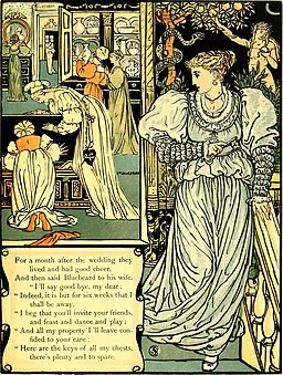 An illustrated book containing the story of Bluebeard